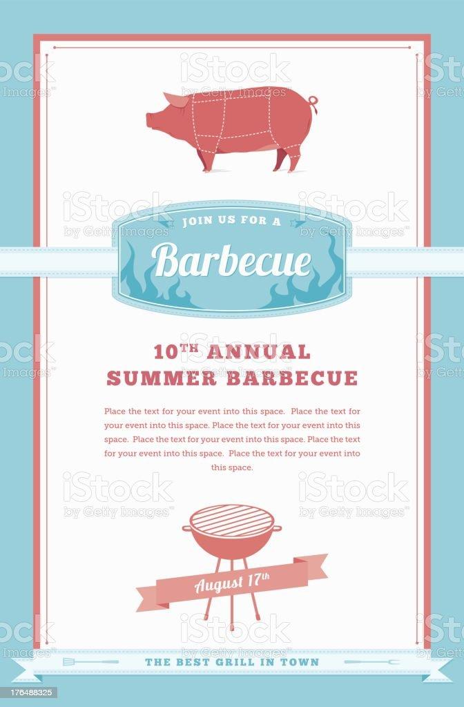 Barbecue Party Invitation, Pig Design vector art illustration