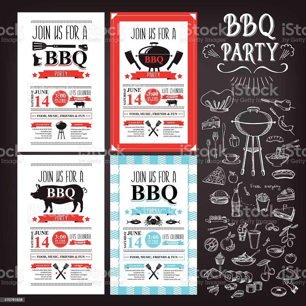 Barbecue party invitation. vector art illustration