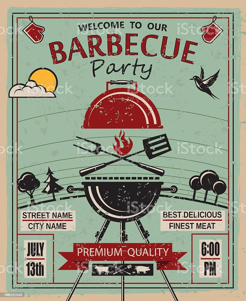 barbecue party invitation vector art illustration
