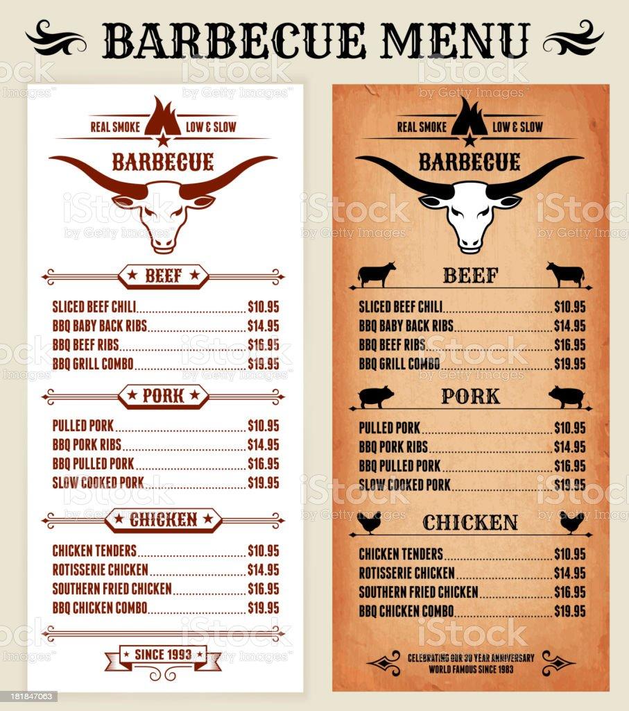 Barbecue Restaurant Menu royalty-free stock vector art