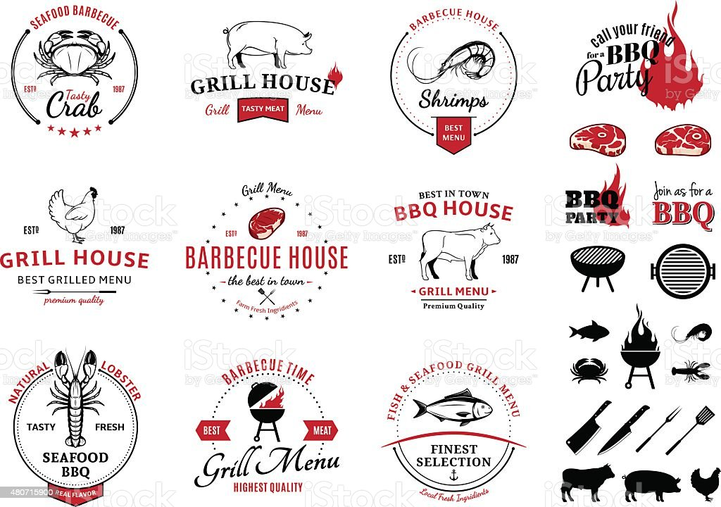 Barbecue, Seafood Labels and Design Elements vector art illustration