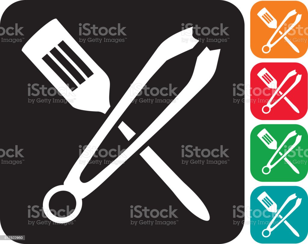 Barbecue tongs and spatula crossed icon set vector art illustration