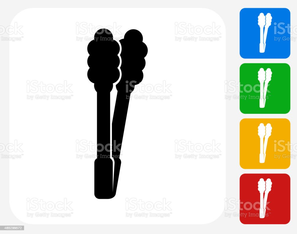 Barbecue Tongs Icon Flat Graphic Design vector art illustration