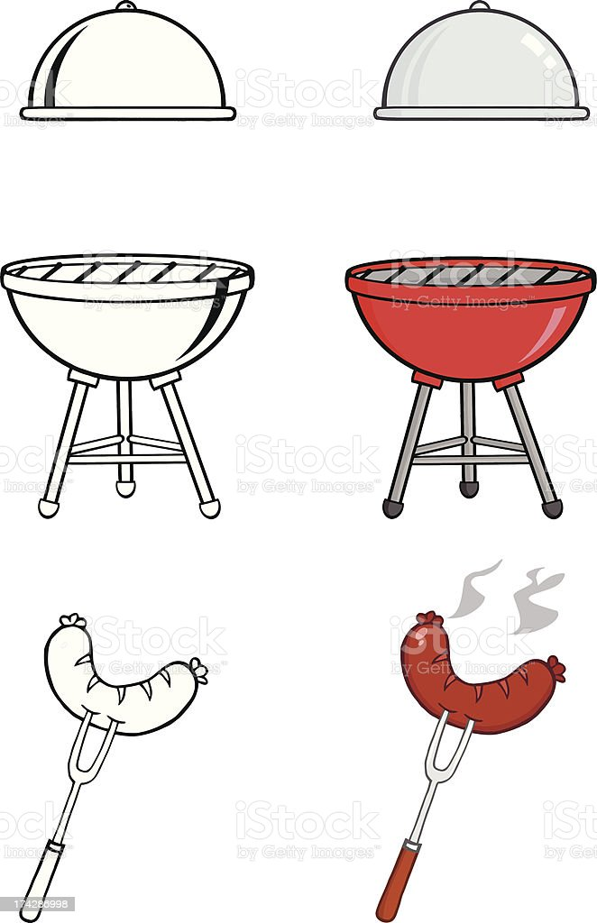 Barbecue Tools Collection vector art illustration