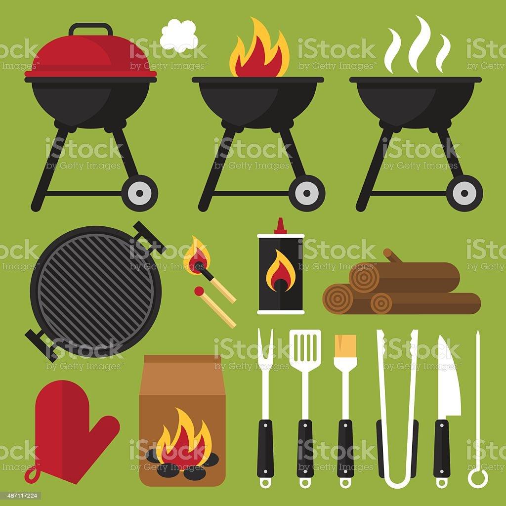 Barbecue tools vector art illustration