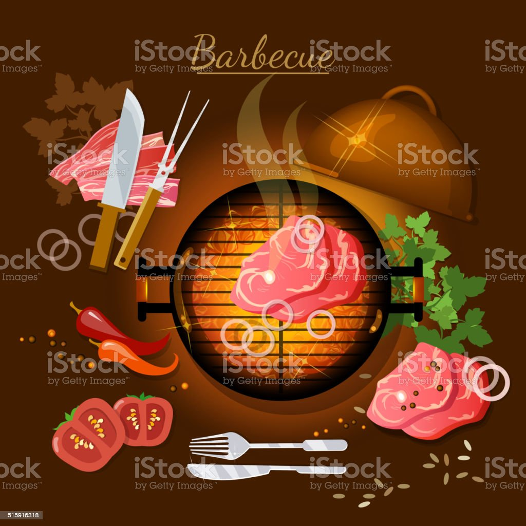 Barbecue top view bbq grill party grilled meat vector art illustration