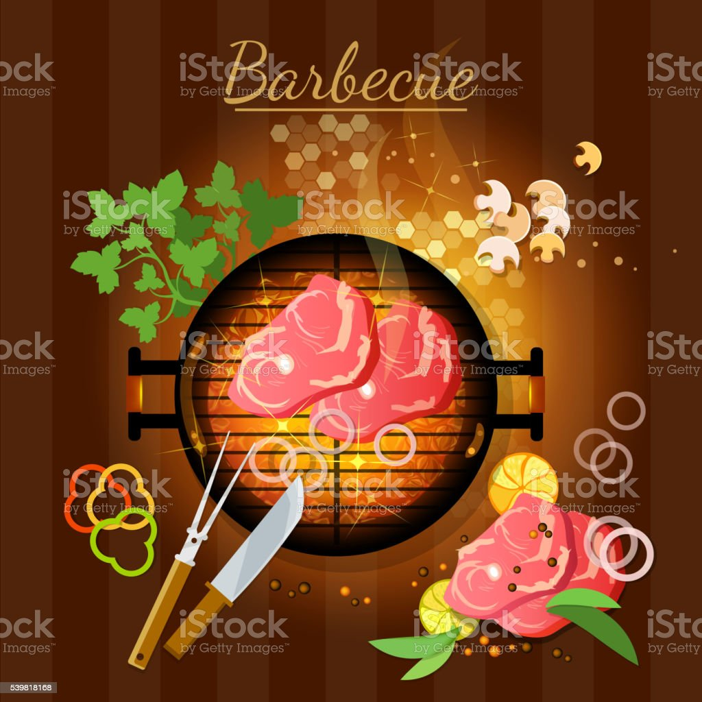Barbecue top view grilled meat bbq grill party vector art illustration