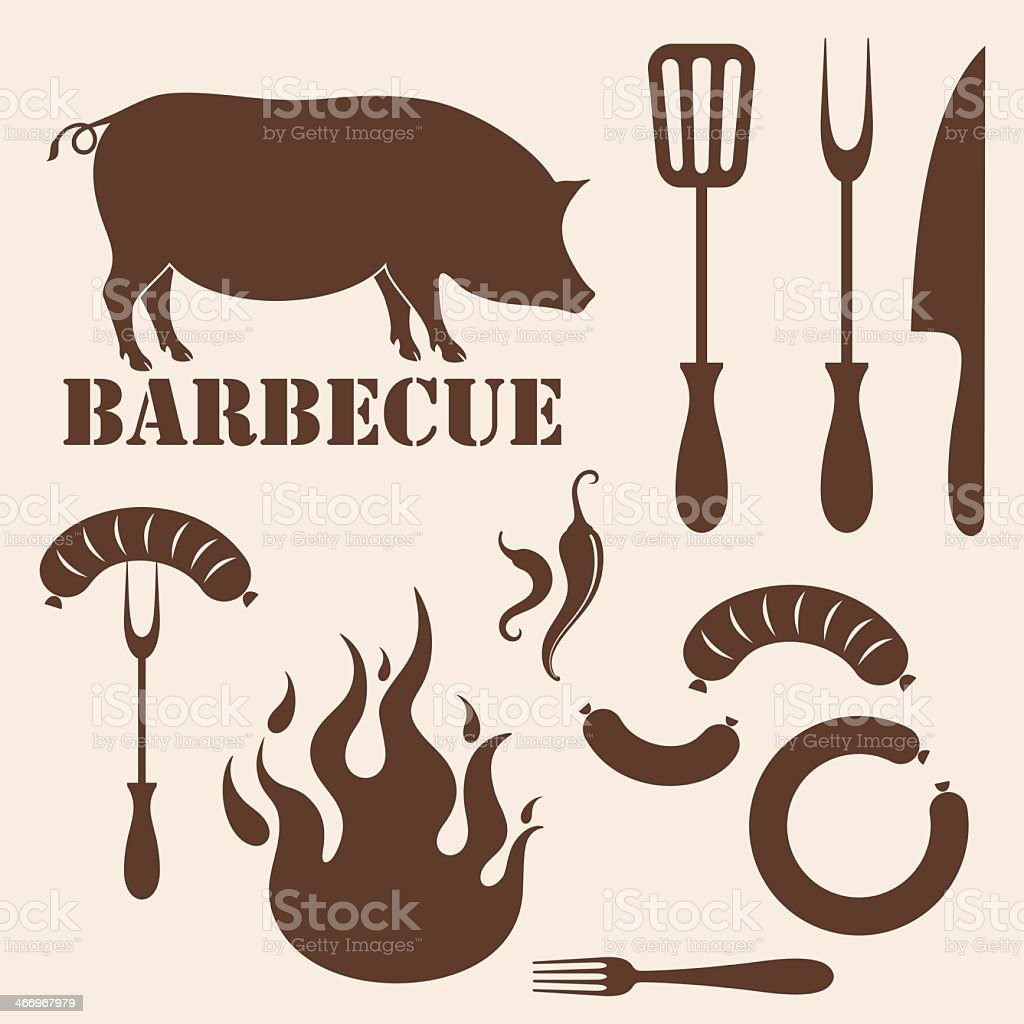 Barbecue vector collection with pig, fire and cutlery set vector art illustration