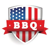 Barbecue vintage shield with USA flag