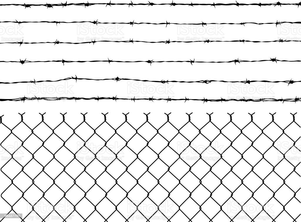 Barbed Wire and Fence vector art illustration