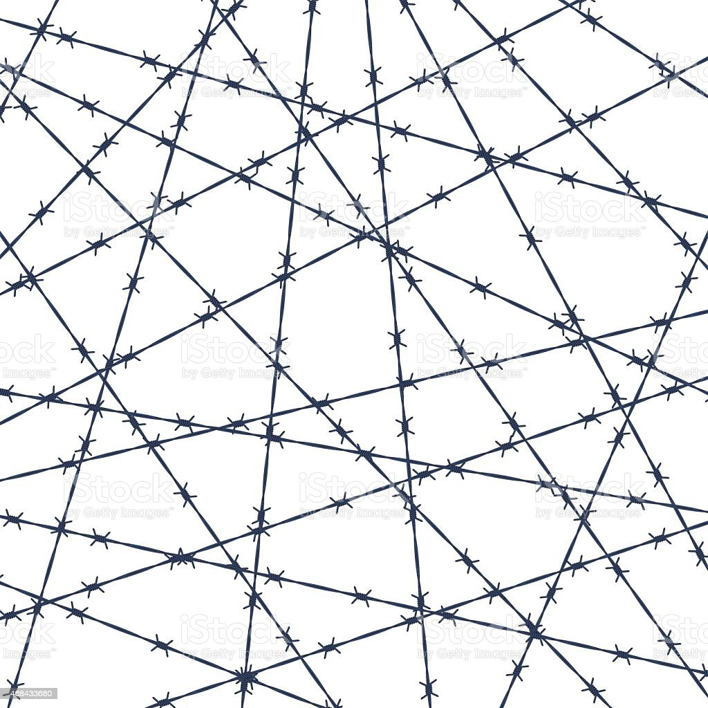 Barbed wire pattern vector art illustration
