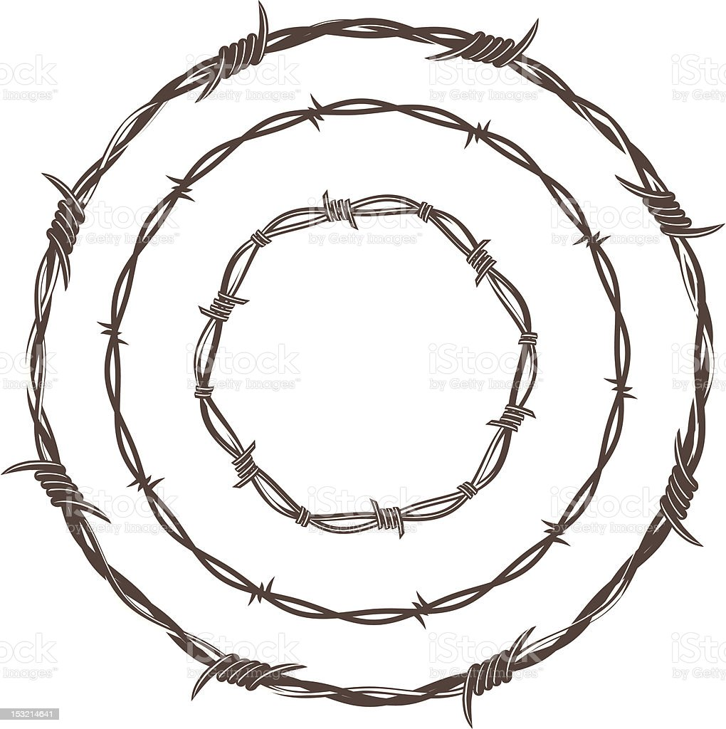 Barbed Wire Rings vector art illustration