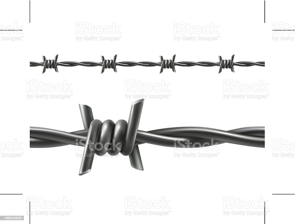 Barbed wire seamless vector art illustration