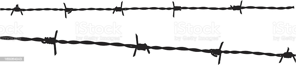 Barbed wire silhouette vector art illustration