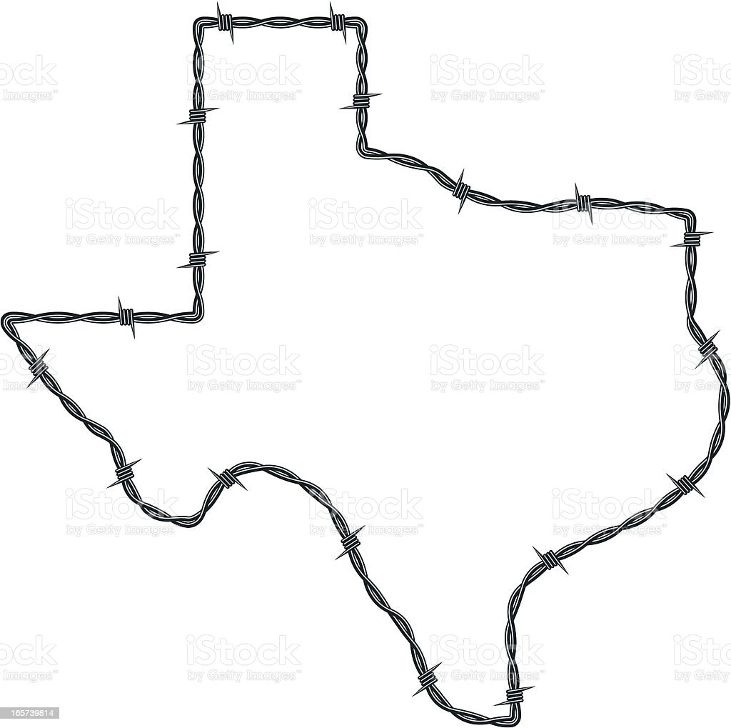 Barbed Wire Texas vector art illustration