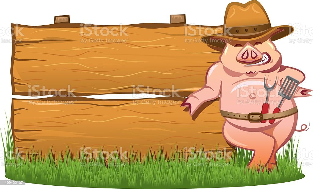 Barbeque grill - Smiling hog and wooden sign royalty-free stock vector art