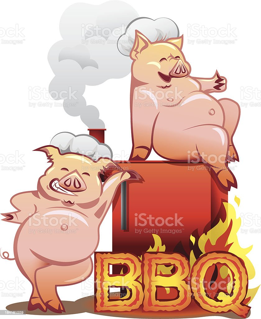 Barbeque grill - Two funny pigs near the red smoker vector art illustration
