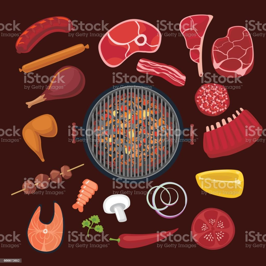 Barbeque ingredients set. Cartoon icons collection for BBQ vector art illustration