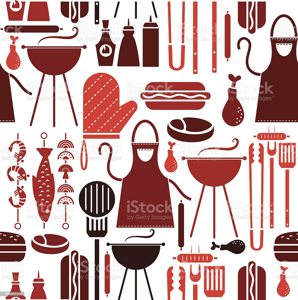 Barbeque Repeat Pattern vector art illustration
