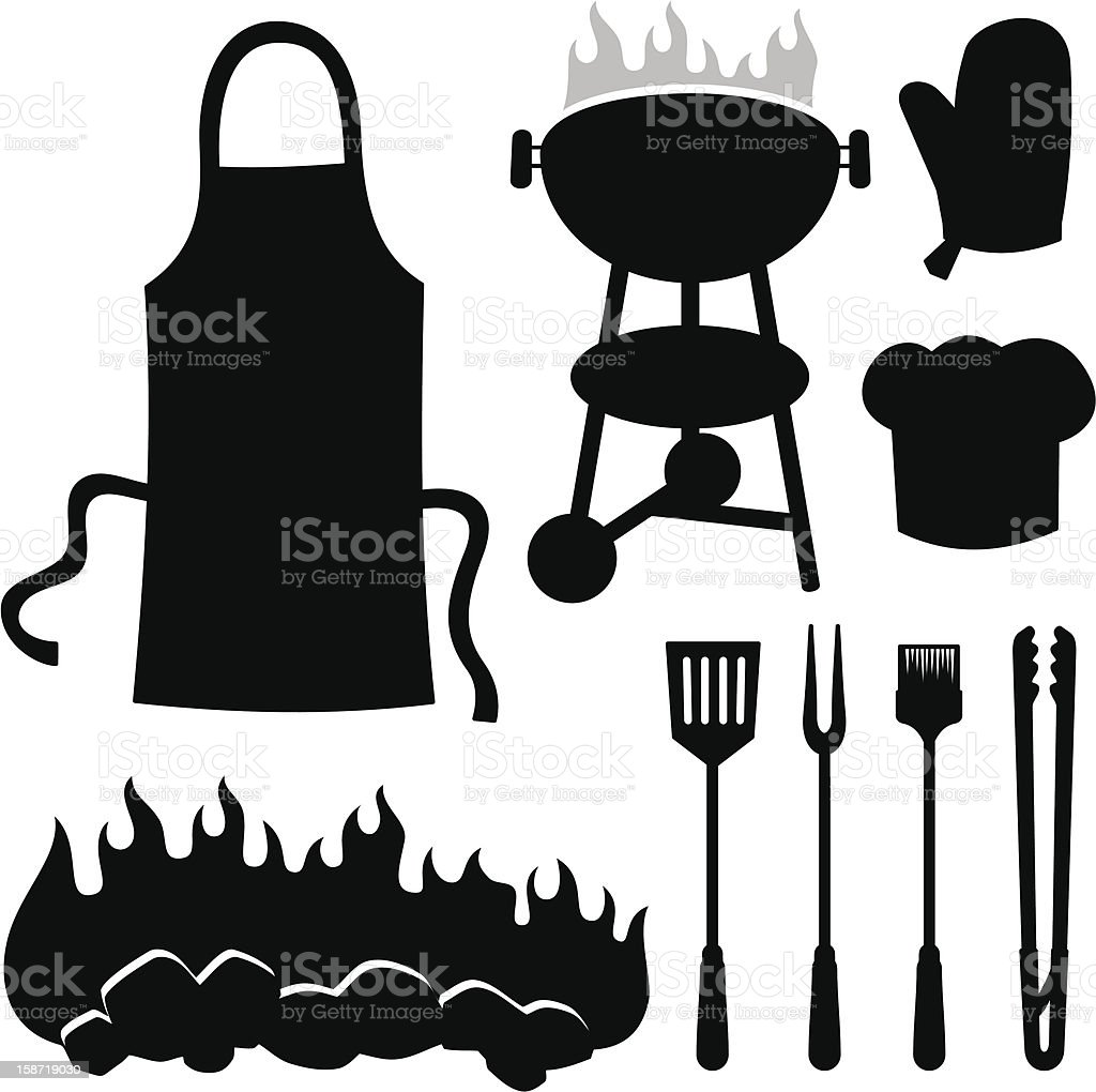 Barbeque silhouettes vector art illustration