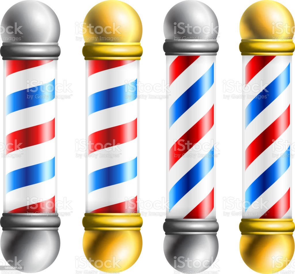 Barber barbershop pole vector art illustration