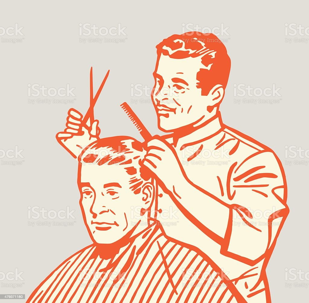 Barber Giving Haircut vector art illustration