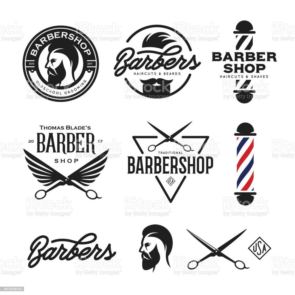 Barber shop badges set. Vector vintage illustration. vector art illustration