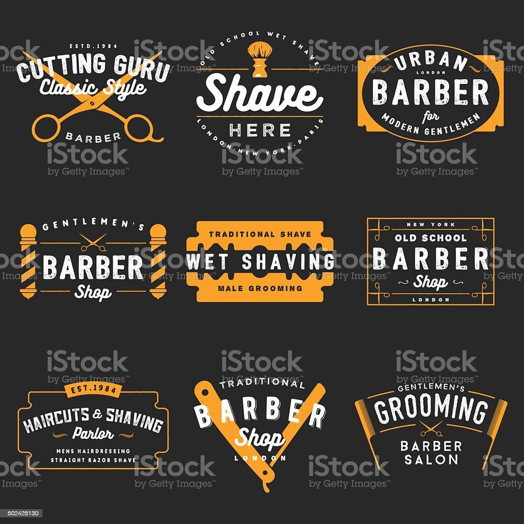 Barber Shop Emblems vector art illustration