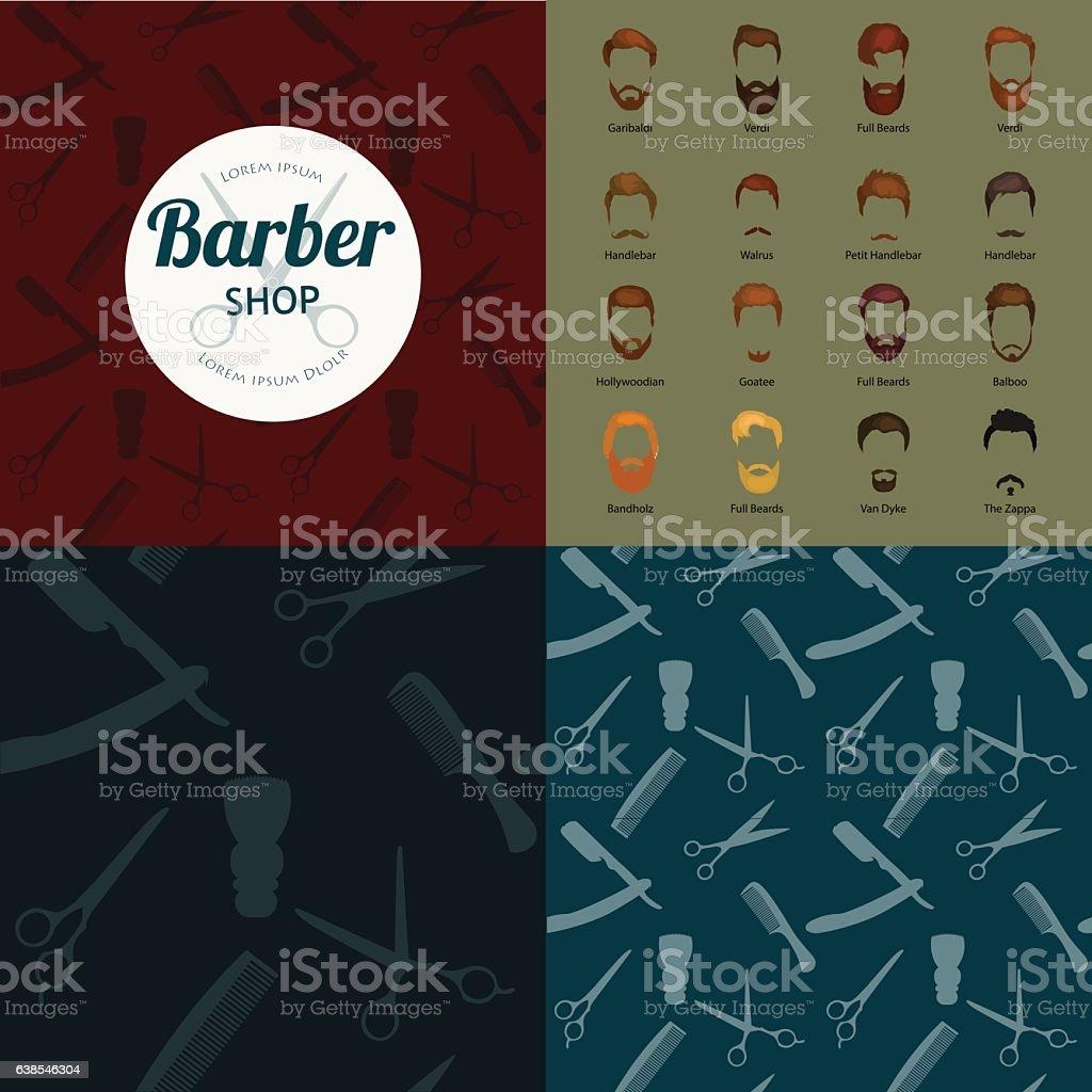 Barber Shop or Hairdresser background set with hairdressing scissors, shaving vector art illustration