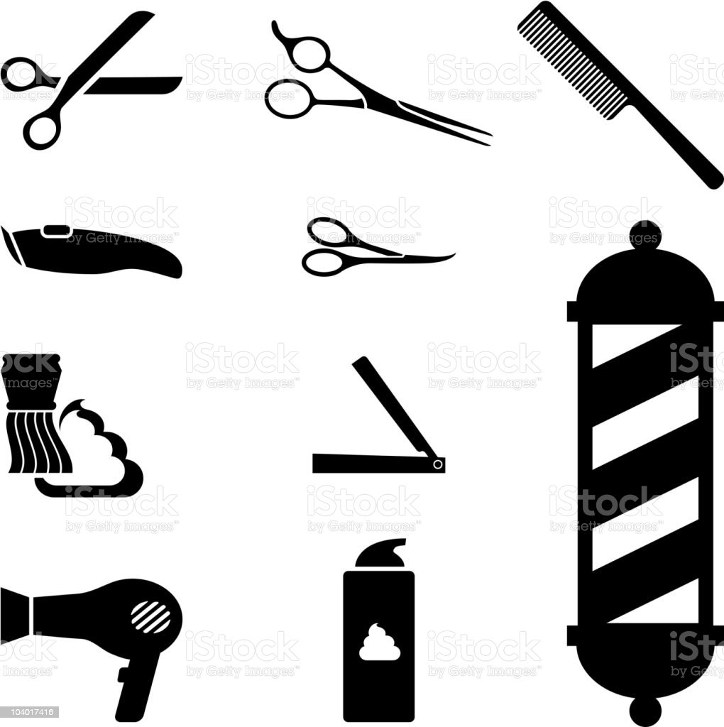 barber shop icon set FINAL vector art illustration