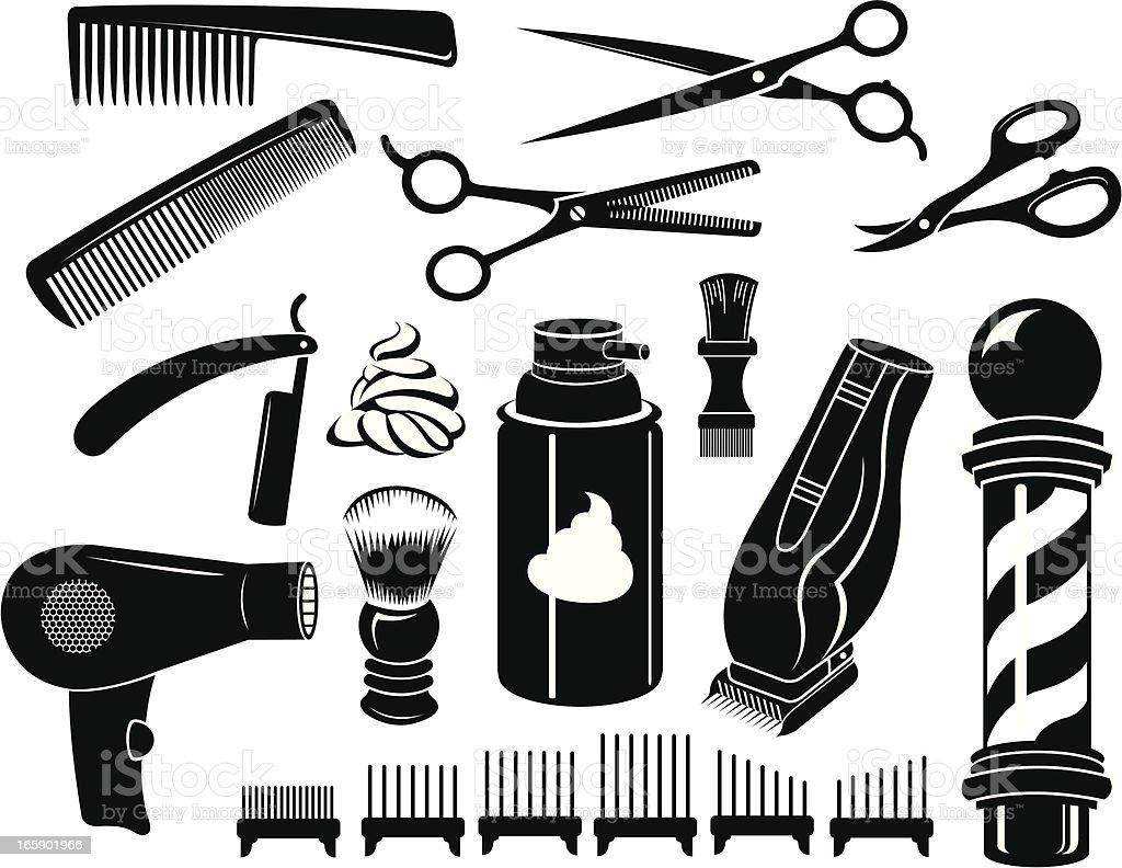 Barber Shop Tools and Equipment - Scissors, Comb vector art illustration