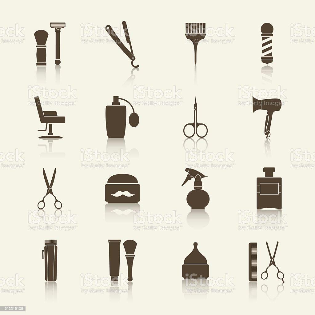 Barber Shop vintage monochrome icons set with reflection vector art illustration