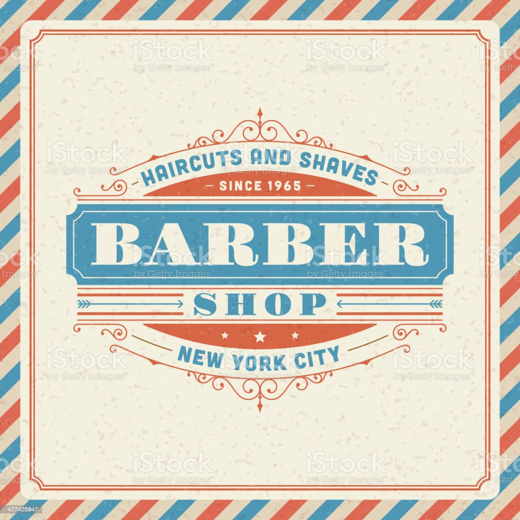 Barber shop vintage retro vector art illustration