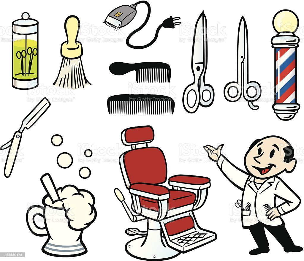 Barber Stuff vector art illustration
