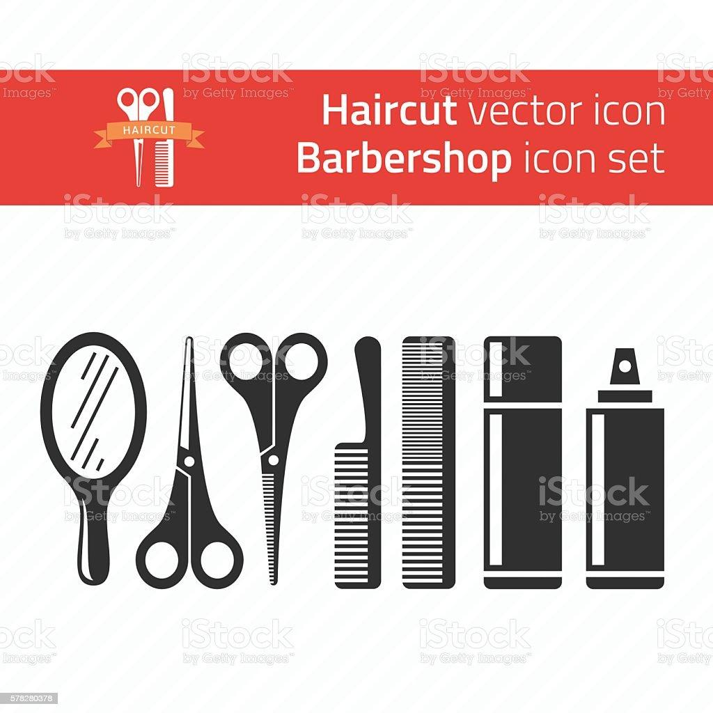 Barbershop icon set vector art illustration