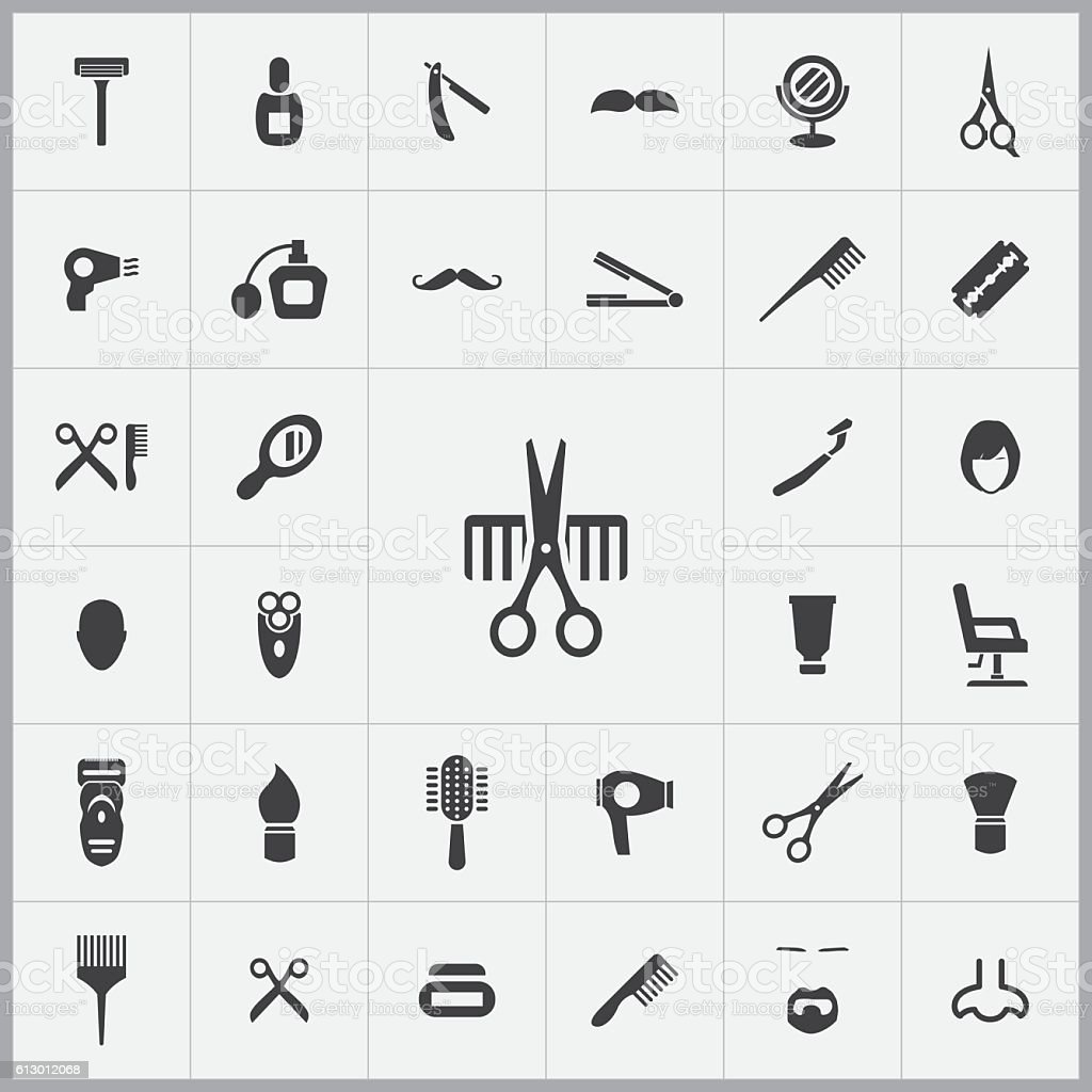 barbershop icons universal set vector art illustration