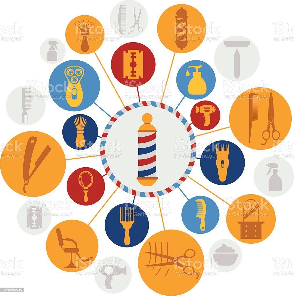 Barbershop Montage vector art illustration