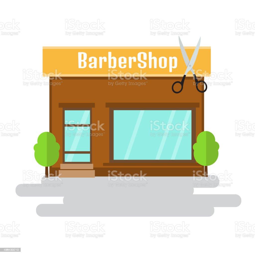 Barbershop of flat style building. Vector illustration. vector art illustration