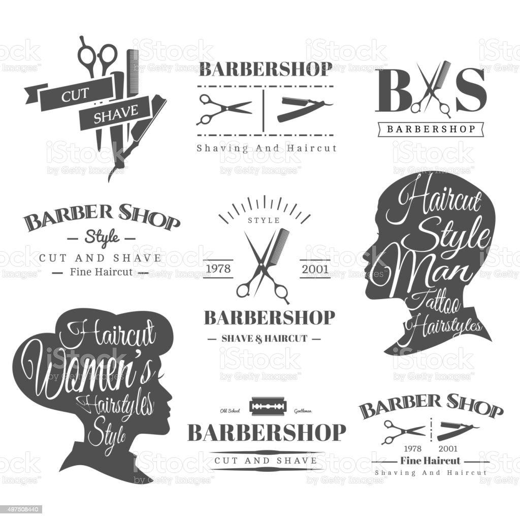 Barbershop signs vector art illustration