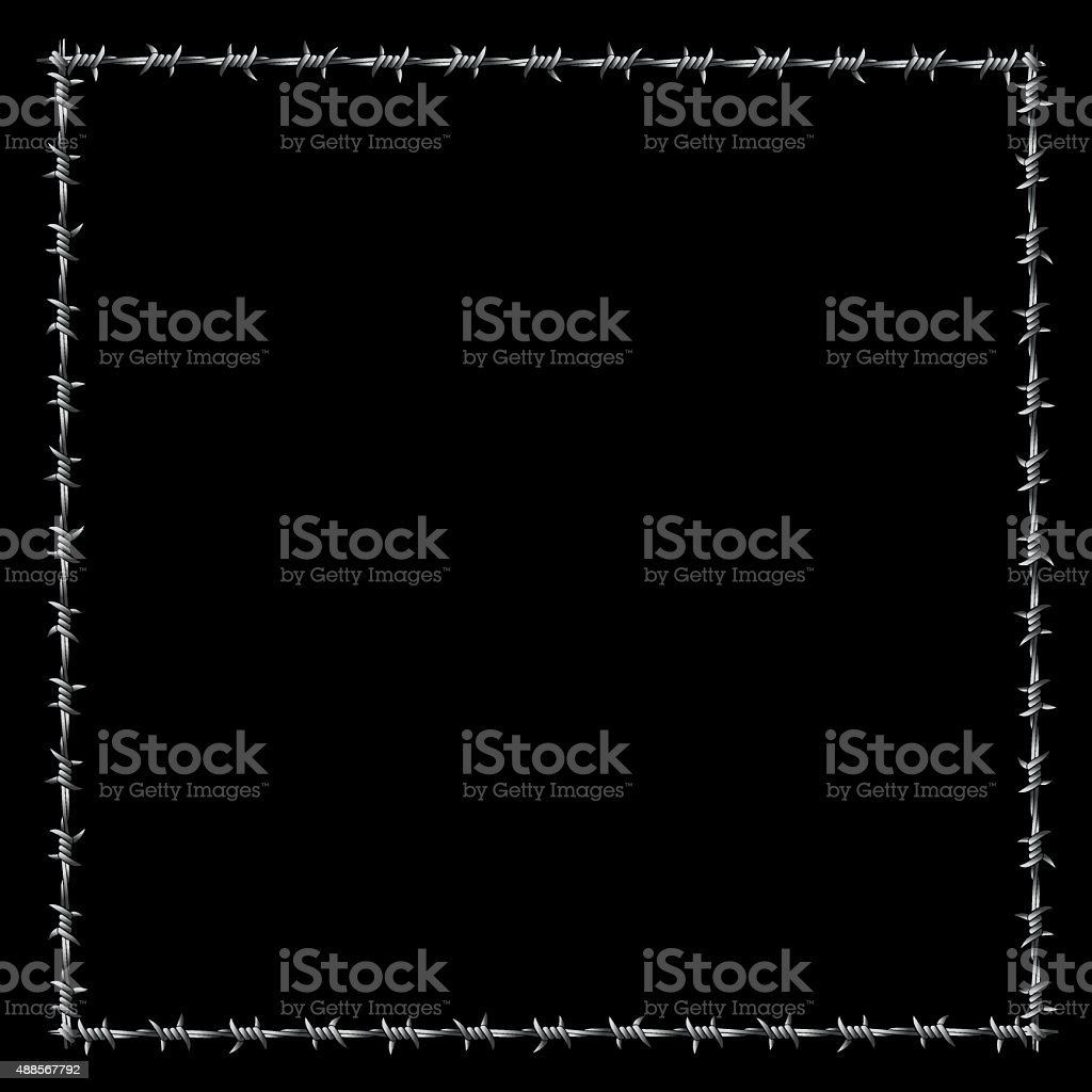 Barbwire Frame Square Border Black vector art illustration