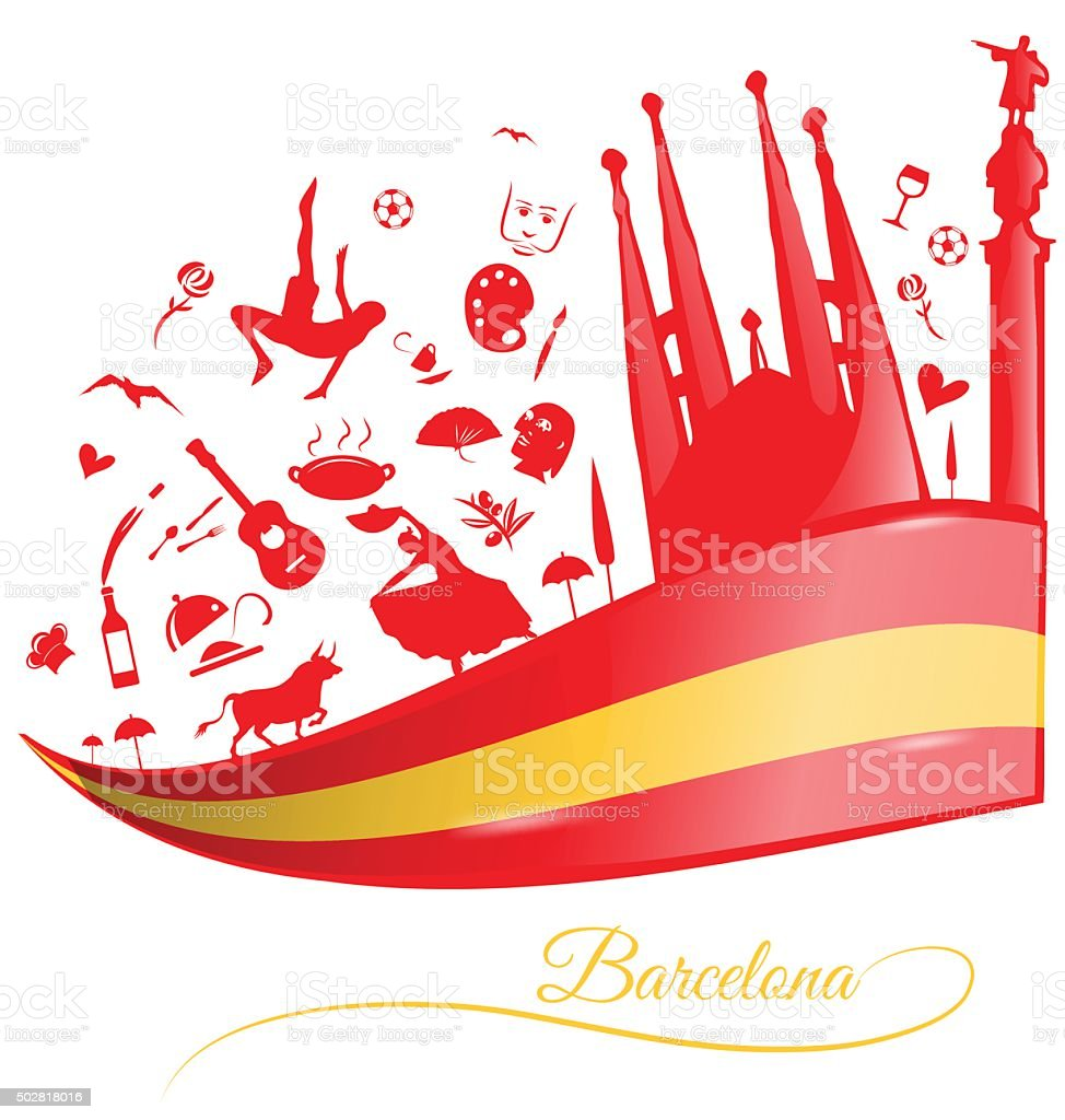 barcelona background with flag and symbol set vector art illustration