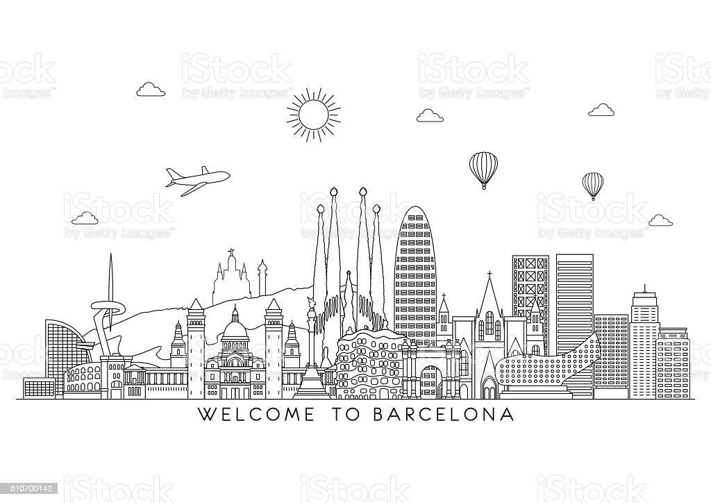 Barcelona skyline. Vector line illustration. Line style design vector art illustration