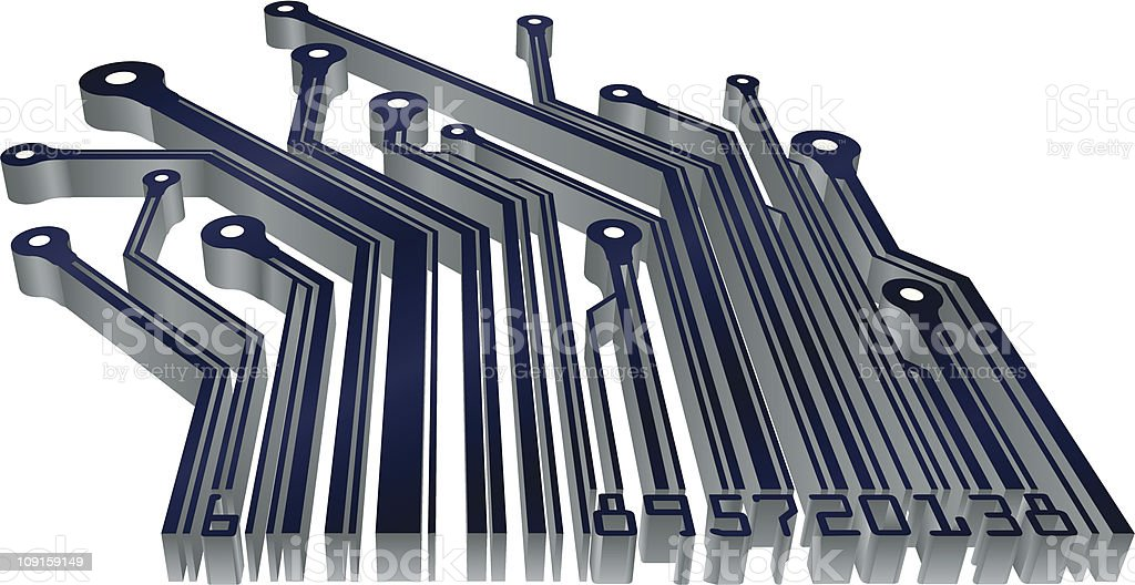 Barcode circuit royalty-free stock vector art