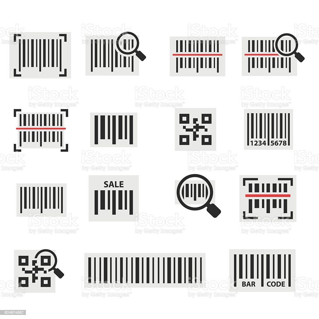 Barcode icon set vector art illustration