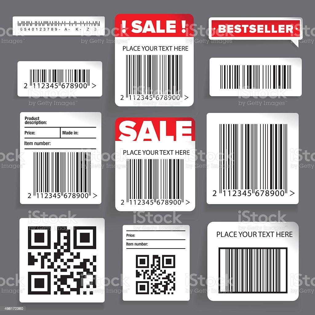 Barcode label and sale vector set vector art illustration
