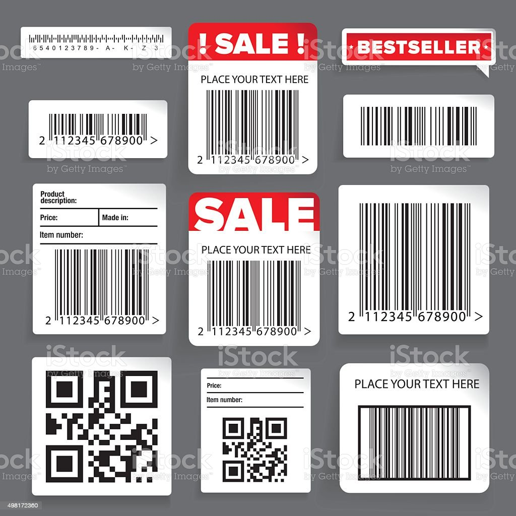 Barcode label and sale vector set vector art illustration