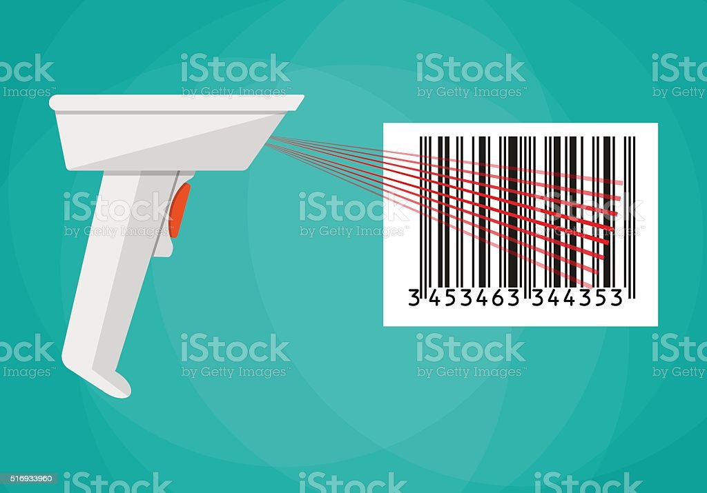 Barcode scanner flat design vector art illustration