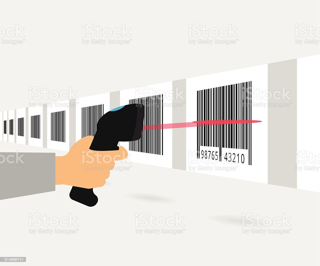 Barcode scanning vector art illustration