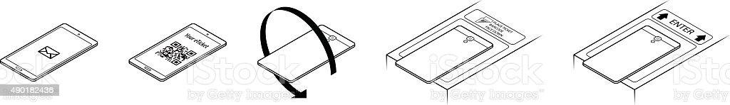 Barcode turnstile entry vector art illustration