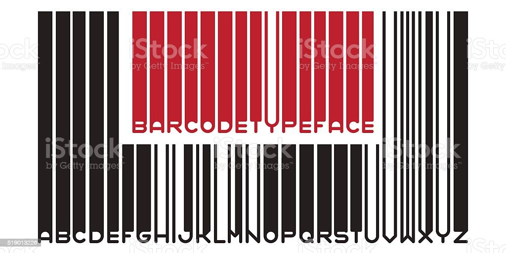 Barcode typeface font vector art illustration